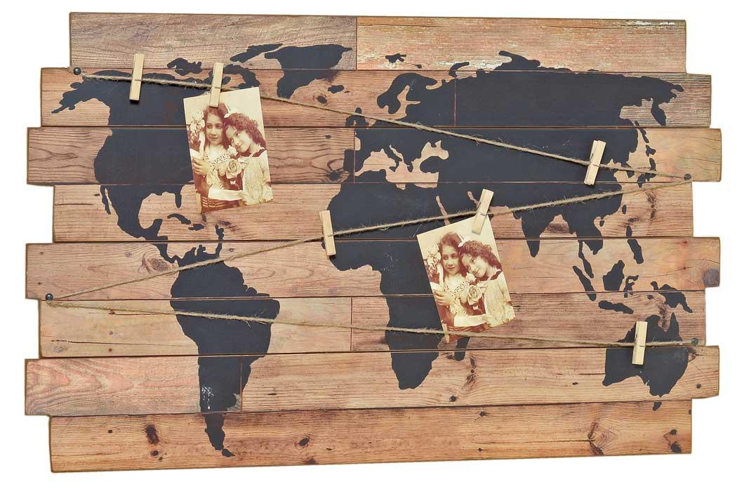 Nostalgie Wandbild - Weltkarte - Deko Wandobjekt Holz Schild ...