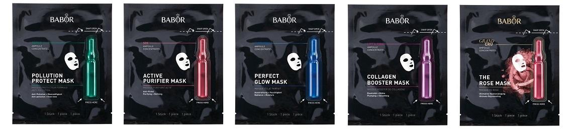 5 verschiedene Babor Vliesmasken mit Frischekapsel