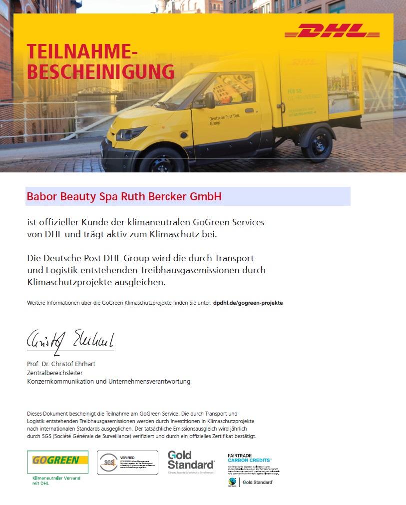 DHL GoGreen Teilnahmebescheinigung Ruth Bercker GmbH