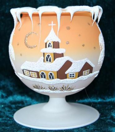 10 Stück Kelch fürs Teelicht aus Glas orange Weihnachten handbemalt