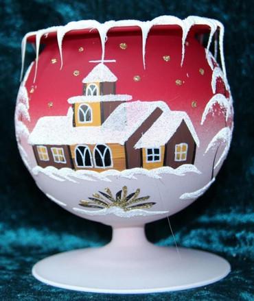 10 Stück Kelch fürs Teelicht aus Glas rot Weihnachten handbemalt