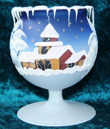 Kelch fürs Teelicht aus Glas blau Weihnachten handbemalt