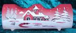 2-flammiger Teelichthalter aus Glas rot Weihnachten handbemalt 001