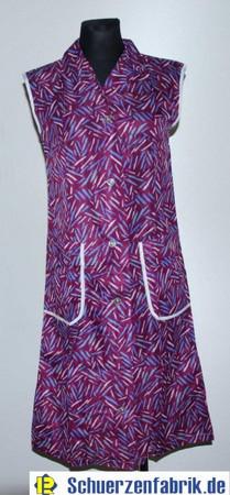 Damen Kittel Schürze Dederon Polyester lila Kragen 2 Taschen