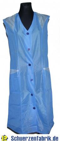 Damenkittel Kittel Schürze Dederon Polyester blau ohne Arm
