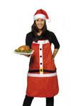 Weihnachtsschürze mit Mütze Latzschürze Trägerschürze Schürze Polyester 001