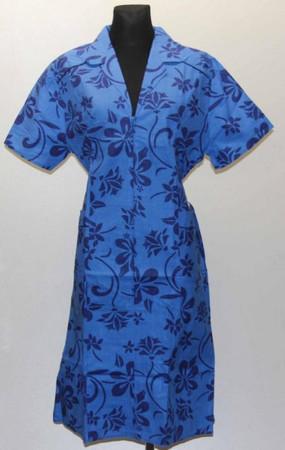 Reißverschluss RV Kittel mit Arm u. Kragen Schürze Hauskleid Baumwolle blau