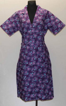 Reißverschluss RV Kittel mit Arm u. Kragen Schürze Hauskleid Baumwolle