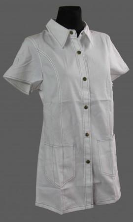 Kasack Schürze Hosenkasack Kittel kurz Baumwolle weiß kurzer Arm