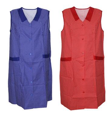 Damenkittel Kittel Schürze Hauskleid ohne Arm Baumwolle rot o. blau weiße Punkte – Bild 1