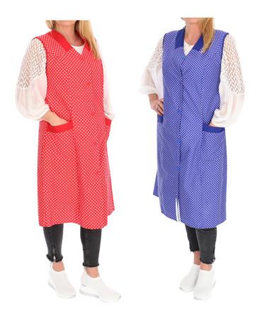Damenkittel Kittel Schürze Hauskleid ohne Arm Baumwolle rot o. blau weiße Punkte – Bild 3