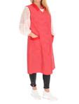 Damenkittel Kittel Schürze Hauskleid ohne Arm Baumwolle rot o. blau weiße Punkte 001
