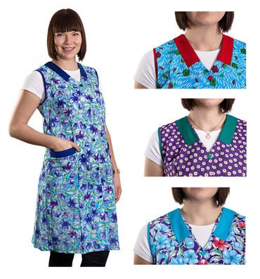 Damenkittel Kittel Schürze Hauskleid ohne Arm Baumwolle bunt – Bild 1