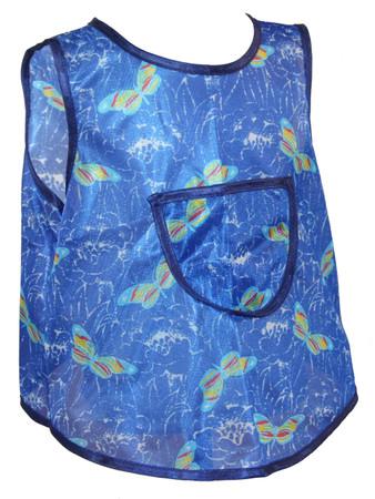 Kinderschürze hinten zum knöpfen Dederon Malschürze Jungenschürze blau versch. Muster – Bild 3