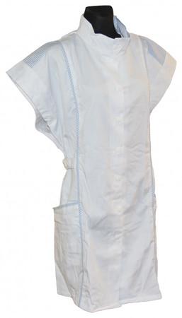 7/8 Kasack Kittel Schürze kurz Baumwolle/Polyester weiß/hellblau – Bild 1