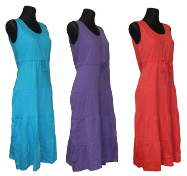 Kleid Hauskleid Gartenkleid Strandkleid Jersey rot, blau, lila – Bild 1