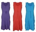 Kleid Hauskleid Gartenkleid Strandkleid Jersey rot, blau, lila 001