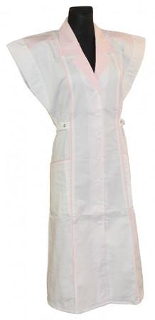 Damen  Kittel Fleischer Schürze ohne Arm/ mit Arm weiß/rosa – Bild 2