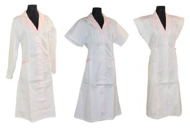 Damen  Kittel Fleischer Schürze ohne Arm/ mit Arm weiß/rosa – Bild 1
