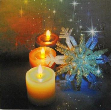 LED Fensterbild 20 x 20 x 1,5cm Wandbild Bild Leinwand Weihnachten Kerzen – Bild 3