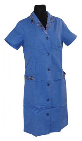 Kittel Schürze mit kurzem Arm Baumwolle blau Kragen DDR Ostalgie – Bild 2