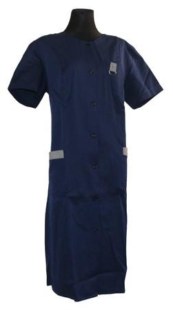 Damenkittel Kittel Schürze blau kurzer Arm Baumwolle/Polyester