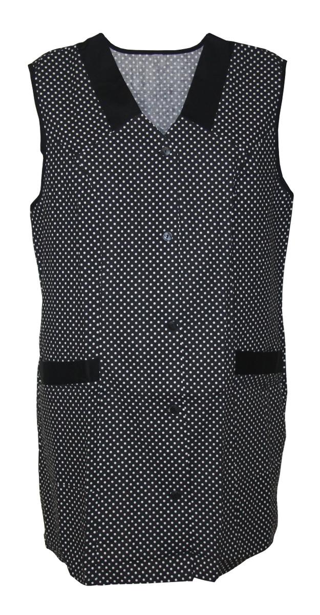 Kasack Kittel kurz Schürze 7//8 Kasack ohne Arm Baumwolle Punkte schwarz