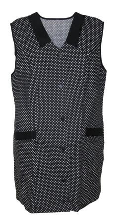 Kasack Kittel kurz Schürze 7/8- Kasack ohne Arm Baumwolle Punkte schwarz