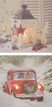 LED Wandbild Weihnachten Bild Leinwand Fensterbild Wintermotiv Holz Dekoration – Bild 1