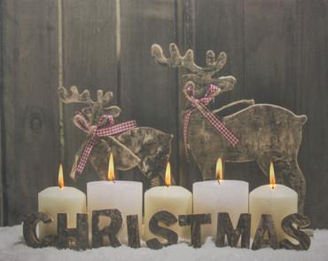 LED Wandbild Weihnachten Bild Leinwand Fensterbild Holz Dekoration – Bild 3