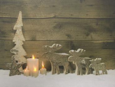 LED Wandbild  Holz Dekoration Weihnachten Bild Leinwand Fensterbild – Bild 3