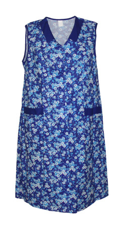 Damenkittel Baumwolle Hauskleid ohne Arm Kittel Schürze  bunt – Bild 3