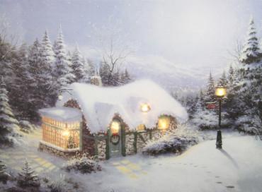 LED Bild Weihnachten Fensterbild Leinwand Dekoration Wintermotiv Holz Wandbild – Bild 3