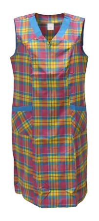 Kittel mit Reißverschluss kariert RV Hauskleid Baumwolle Schürze – Bild 2