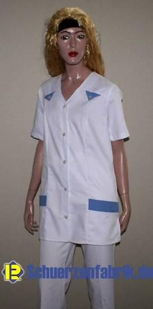 Schwesternkasack Damen Kasack Hosenkasack weiß/blau Gr. 34 - 60