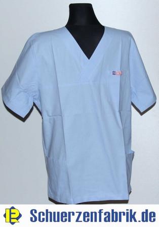 Herren Schlupfkasack Pflegerhemd Pflegerkasack blau mit Arm