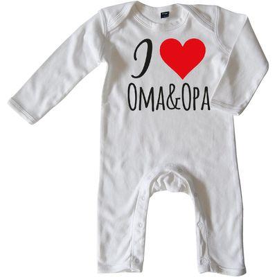 Mikalino Baby Schlafanzug I love Oma & Opa langarm