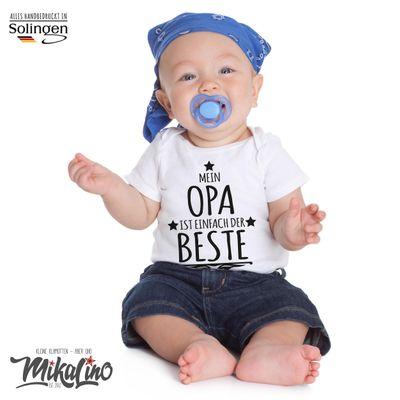 Mikalino Babybody mit Spruch für Jungen Mädchen Unisex kurzarm Mein Opa ist einfach der Beste | handbedruckt in Deutschland | Handmade with love