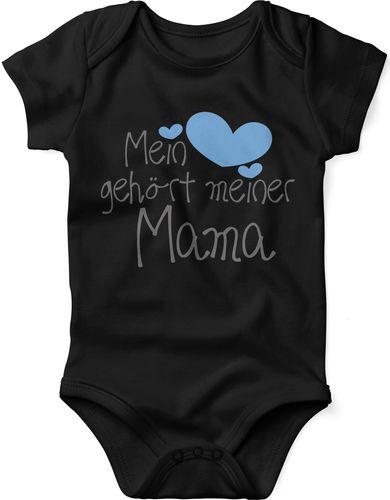 Mikalino Babybody mit Spruch für Jungen Mädchen Unisex kurzarm Mein Herz gehört meiner Mama | handbedruckt in Deutschland | Handmade with love