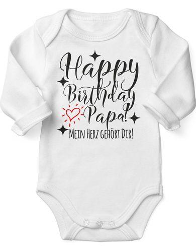 Babybody Langarm Happy Birthday Papa! Mein Herz gehört Dir!