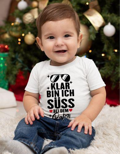 Baby / Kinder T-Shirt kurzarm Klar bin ich süß – bei dem Papa