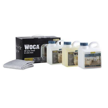 Woca Pflegebox für lackierte Böden (matt) Inhalt: Lackpflege, Lackseife, Intensivreiniger und 2 Baumwolltücher - Sonderangebot!