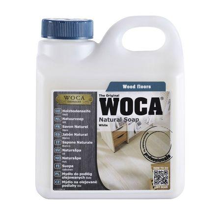 Woca Holzbodenseife Weiß 1 Liter, zur Reinigung und Pflege von weiß geölten Böden