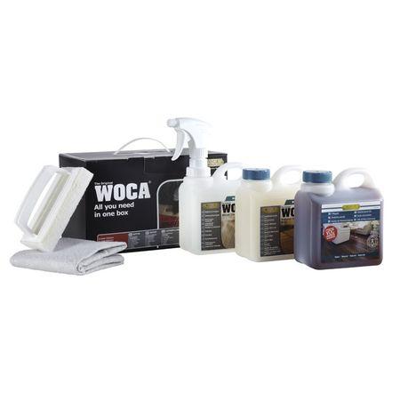 Woca Pflegebox ÖL Natur für geölte Böden Inhalt: Pflegeöl, Holzbodenseife, Intensivreiniger, Sprühkopf-Aufsatz, Polierpad mit Griff und Baumwoll-Bodentuch