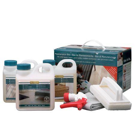 Woca Pflegebox ÖL Weiß für geölte Böden Inhalt: Pflegeöl, Holzbodenseife, Intensivreiniger, Sprühkopf-Aufsatz, Polierpad mit Griff und Baumwoll-Bodenttuch