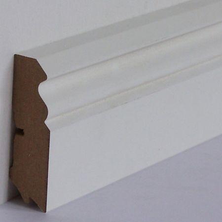Battiscopa profilato sagomato Vecchio Berlino MDF foliato bianco, profilo 624, 18x58x2700mm – Immagine 2