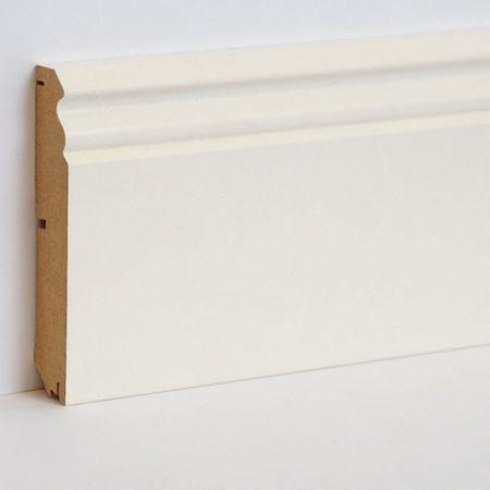 Battiscopa profilato sagomato Vecchio Berlino MDF foliato bianco, profilo 626, 18x96x2700mm – Immagine 1