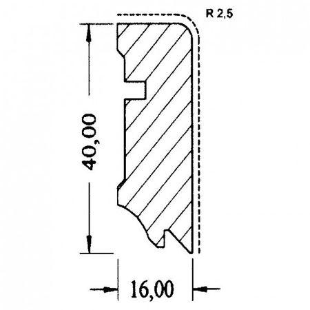 Battiscopa Profilo 630 UM impiallacciato Merbau verniciato opaco 16x40mm – Immagine 3