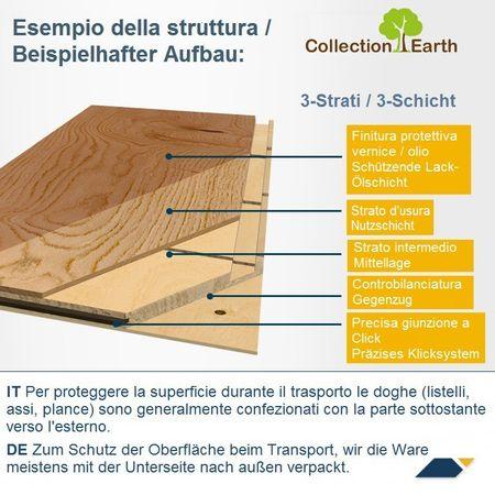 Parquet Pavimento in legno Rovere spazzolato oliato Plancia unica a 3 strati 1092x130x14mm Collection Earth Piccolo CE140 – Immagine 3