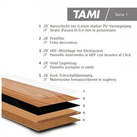 Stock di magazzino %%%  Pavimento in vinile Rovere Camelia (chiaro naturale), Plancia unica a 1210x180x8,5mm con pannello portante in HDF Click, Allure HDF – Immagine 3